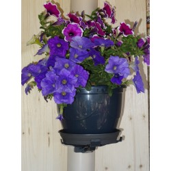 Pack of 3 innovative JARDIFIX flower pot holders adaptable to downspouts and walls + 3 flower pots
